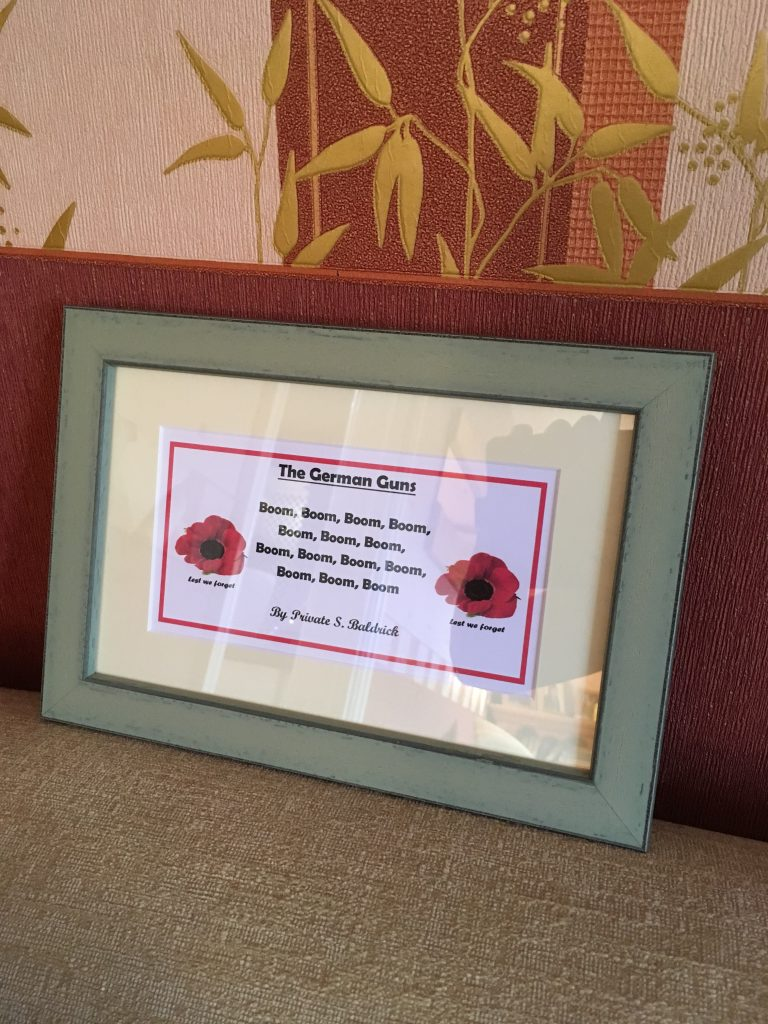 Poem framed and mounted by Telford Picture Framer