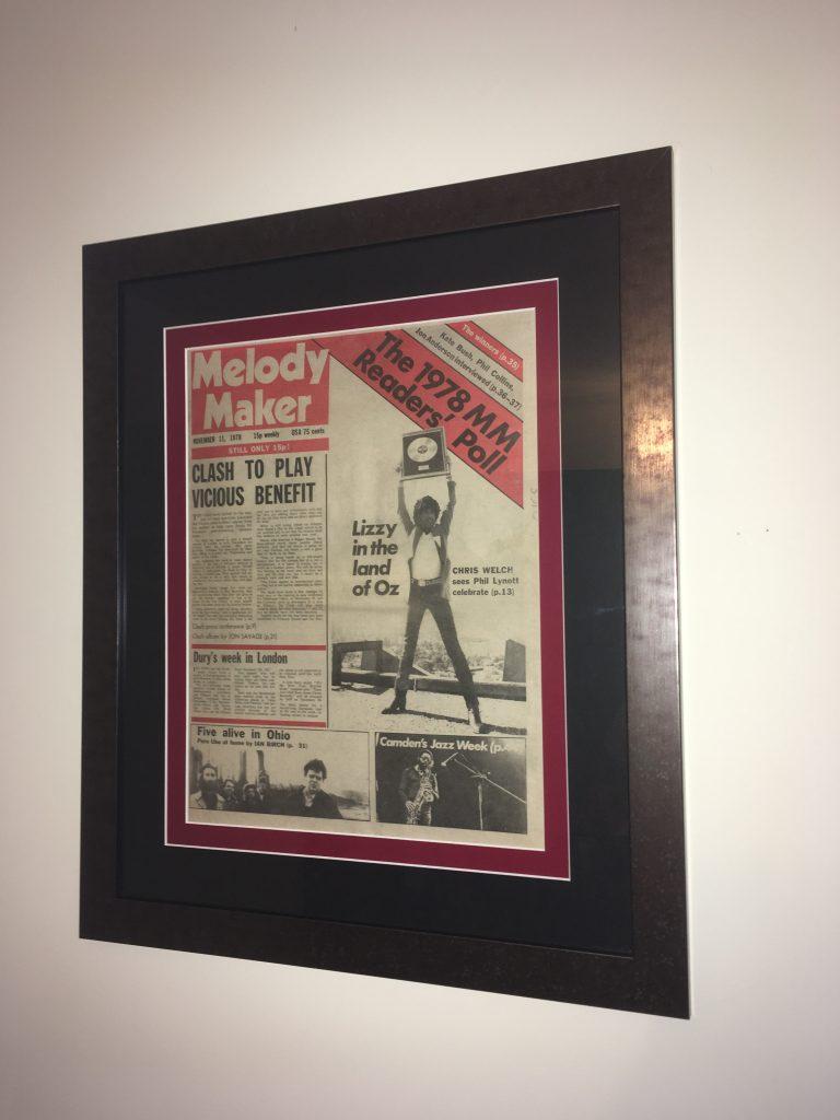 Framed Music Newspaper from 1978
