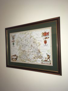 Beautiful Map of Old Shropshire, with a bottle green mount and classic wood frame with gold edging by Telford Picture Framer