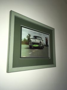 Gorgeous Classic Car with Double Mount of Bottle Green and Maple in a Shabby Chic Green Frame by Telford Picture Framer